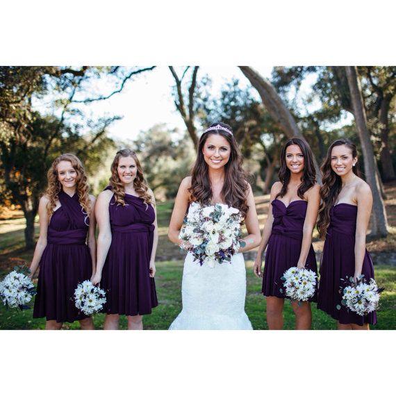 Foncé violet raisin aubergine infini courte robe par AtomAttire