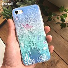 Alivio 3D Lindo Princesa Sirena Flor Para el iphone 7 SE 5 5S 6 6 SPlus Teléfono de Silicona Suave de la Contraportada Para el iphone 6 7 6 S Capa(China)