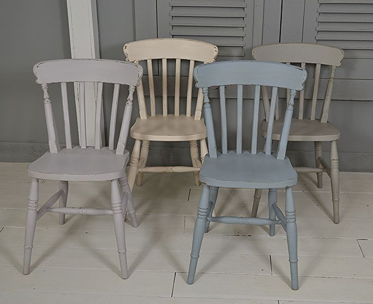 #letstrove With Spring in the air, these delightful pastel Farmhouse chairs will add sunshine to any kitchen! https://www.thetreasuretrove.co.uk/seating/set-of-4-multi-colour-pastel-farmhouse-dining-chairs #spring #pastelcolours #shabbychicchairs #farmhouse