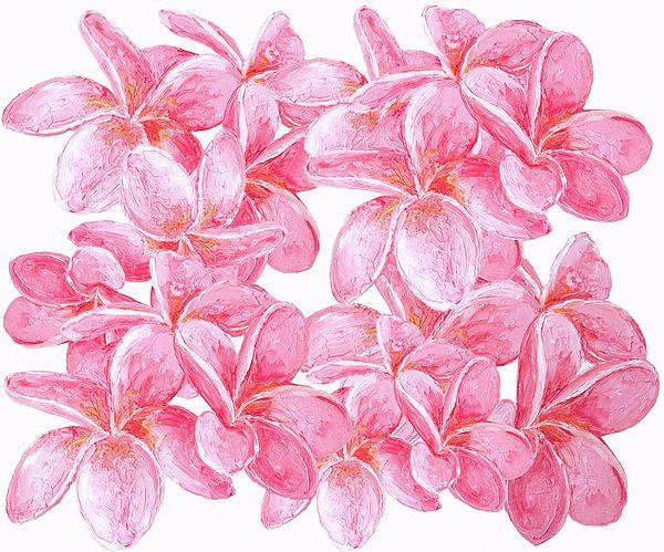Frangipani flowers wall art, tote bag, throw pillow, duvet cover, shower curtain, mugs, etc  #flowerpainting