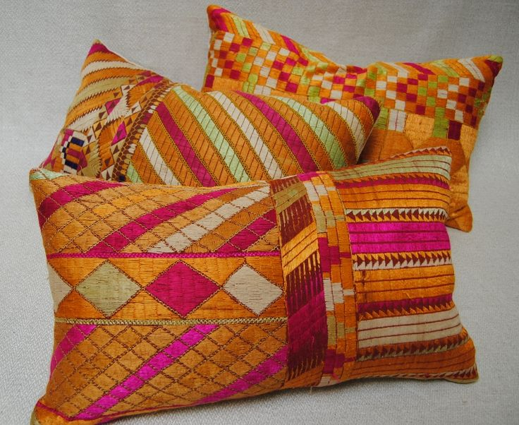 Custom Pillows cut from vintage Phulkari Bagh wedding shawls from Punjub, India.  Vivid silk embroidery.  Maison Suzanne Gallery