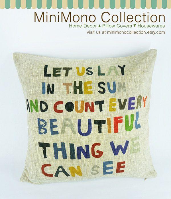 "Fun & Creative Typography Linen Cotton Pillow Cover - Throw Pillow - Positive Quote - 17"" x 17"". $19.90, via Etsy."