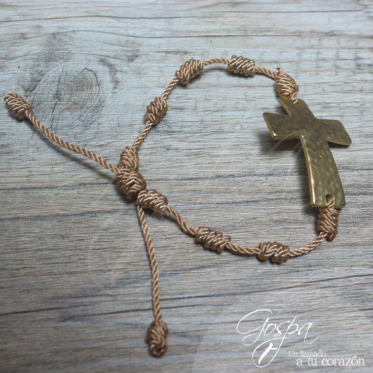 Rosario Denario Pulsera Gospa Jewelry Gospa Elaborado en hilo con cruz en cobre