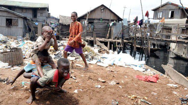 Children playing in the Makoko slum in Lagos, Nigeria (Archive shot)