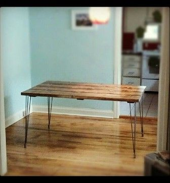 Nice  Steel Hair Pin Leg Solid Wood Dining Table craftsman Dining