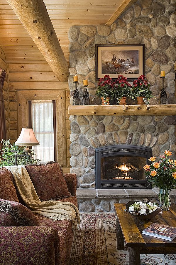 images log home fireplaces click any photo to begin - Log Cabin Living Room