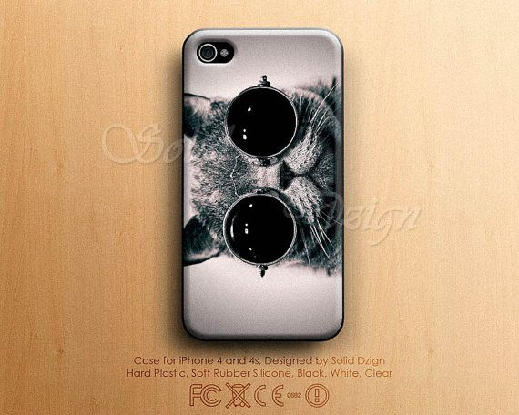 iphone 4    4s cat wearing sunglass case hard plastic by soliddzign   8 90