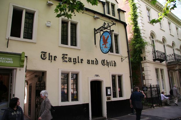 The Eagle and Child (Oxford, England):Notable Patrons: J.R.R. Tolkien, C.S. Lewis. This University pub, which dates way back to the mid-17th century, served as the official meeting place for Tolkien, Lewis, and the rest of their writing group, called the Inklings. From 1933 to the early 1950s, the group met weekly in the Rabbit Room, the bar's private back lounge, to distribute and critique each other's unfinished manuscripts.