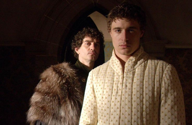 """The White Queen (2013) Starring: James Frain as Richard Neville, 16th Earl of Warwick, """"the Kingmaker"""", a great-grandson of John, Duke of Lancaster; and Max Irons as Edward IV of England. Warick has just learned that King Edward has secretly married Elizabeth Woodville (a nobody) and he is not best pleased. (click thru for high res)"""