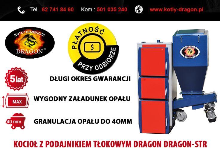 Automatyczne kotły grzewcze typu DRAGON-STR charakteryzują się wysoką efektywnością energetyczną i czystością spalania węgla kamiennego sortymentów miałowych lub tzw. eko-groszku o granulacji do 40 mm, umożliwiają również spalanie mieszanki pelletu oraz owsa z miałem węglowym.  tel./fax: 62 741 84 60 kom. 501 035 240  e-mail: biuro@kotly-dragon.pl e-mail: handlowy@kotly-dragon.pl  Aukcje: http://allegro.pl/listing/user/listing.php?us_id=34032782  #KOCIOŁ #KOTŁY #PIEC #PIECE #WĘGIEL #MIAŁ…