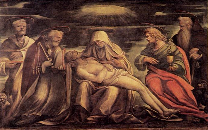 Amico Aspertini, Pietà coi Santi Marco, Ambrogio, Giovanni Evangelista e Antonio Abate, Basilica di San Petronio, Bologna