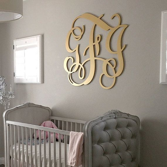 Wooden Monogram Painted Gold Large Wood by TheMonogramCompanySE