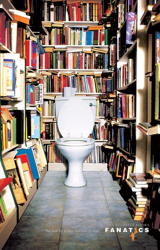 Ivan Pols | Exclusive Books Loo.... be great to do this with book wallpaper behind and beside actual loo (for hygiene's sake) and built in recessed bookshelves towards the door
