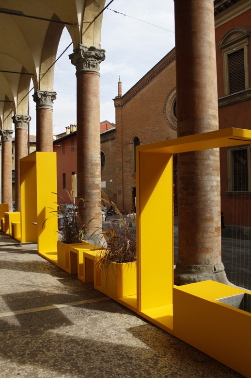Fab colorful #outdoor planting, seating, and shade #urban    www.officinamarocchi.it