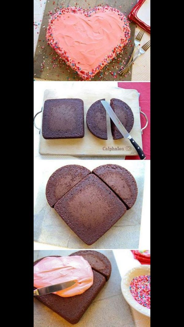 How to create a heart-shaped cake! #valentines #valentinesday   http://www.kitchenandcompany.com/bakeware/cake-pans/: Idea, Valentines Cakes, Valentine'S S, Heart Shape Cakes, Valentines Day, Valentinesday, Heart Shaped Cakes, Birthday Cakes, Heart Cakes