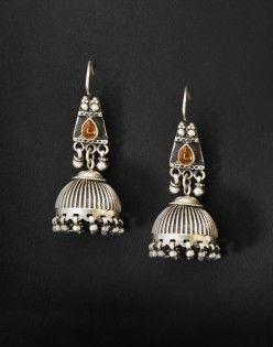 Silver Anusuya ES 1752 Glass Jhumka Earrings