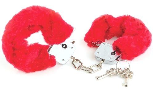 Begynder - Håndjern - rød fra XXdreamSToys - Sexlegetøj leveret for blot 29 kr. - 4ushop.dk - Tænker I på at prøve håndjern - prøv med disse begynder håndjern - de er i en lidt tyndere konstruktion end vores normale håndjern og egner sig derfor ikke til
