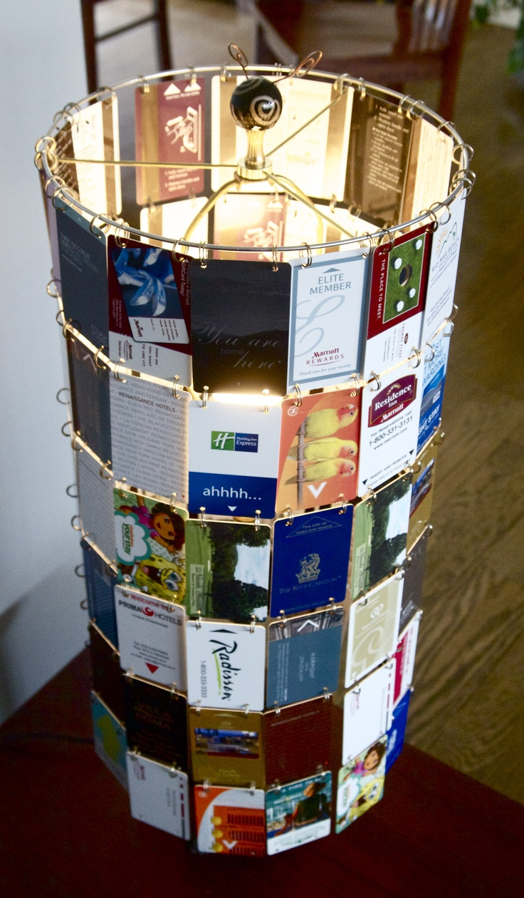 Lamp shade that I made from hotel room cards collected on our family trips over the years.