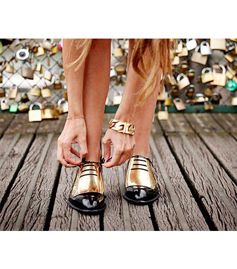 Shiny Gold Celine Brogues