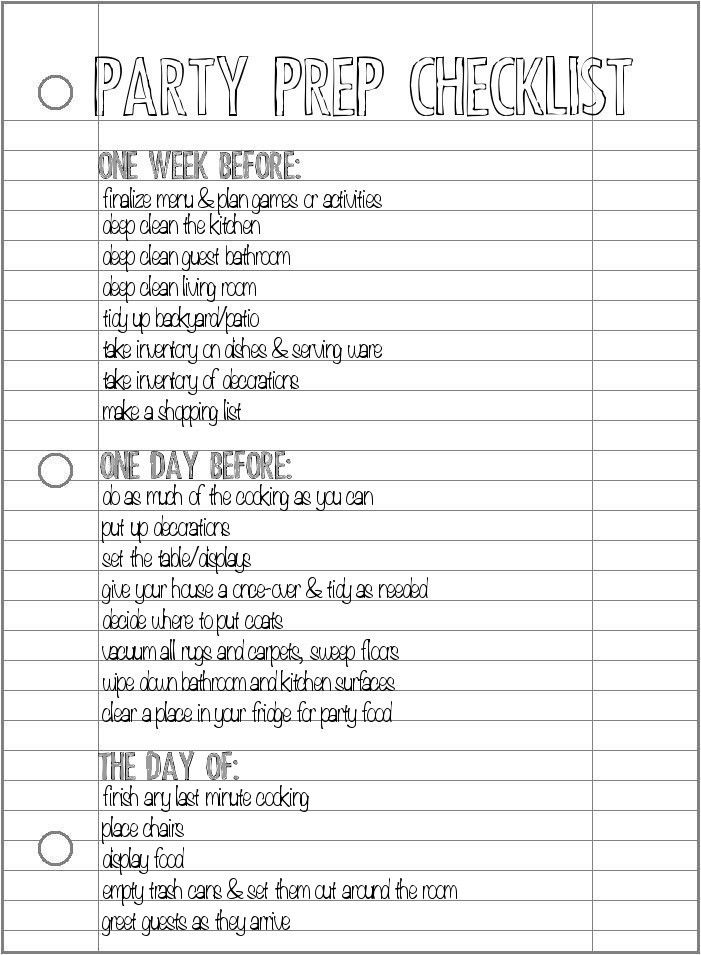 Party Prep Checklist - what to do one week prior, one day, and the day of. Following this checklist will keep you from feeling stressed!