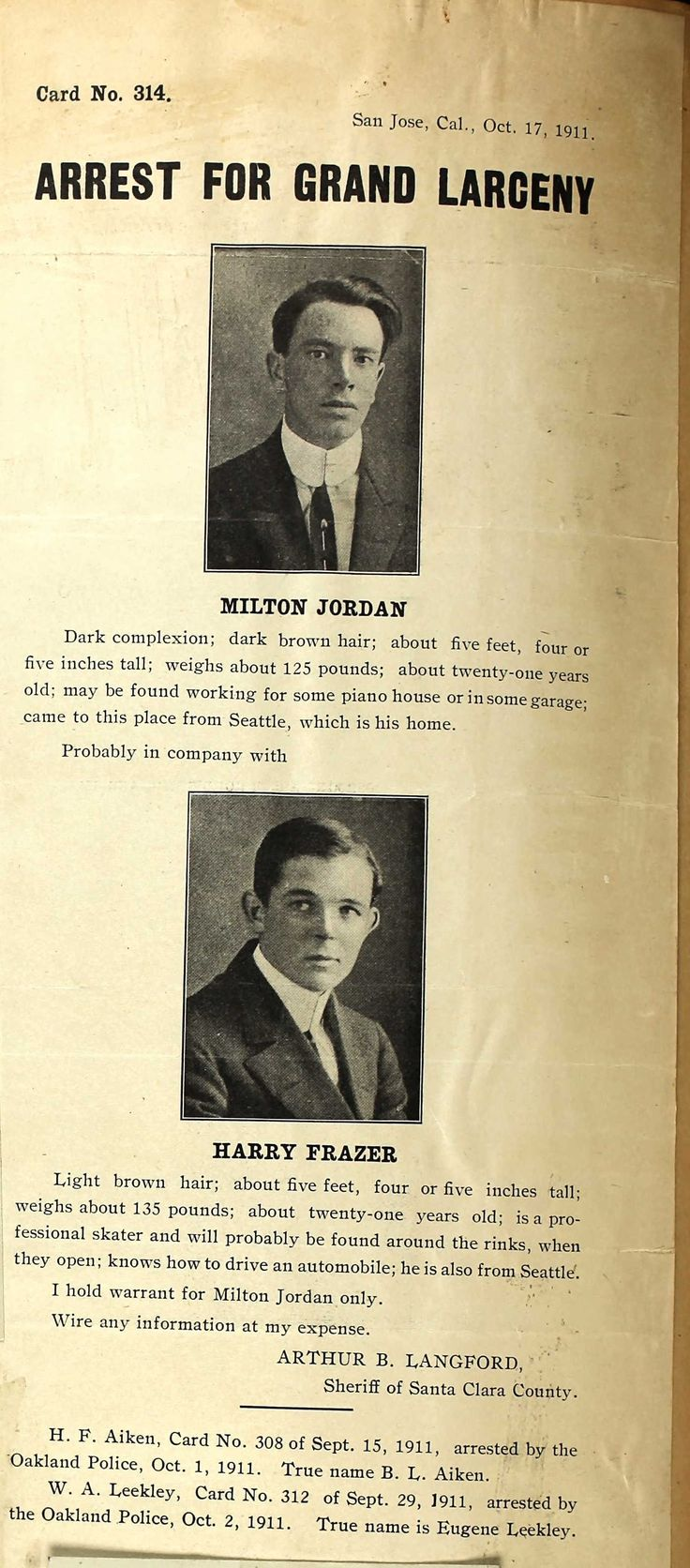 Milton Jordan & Harry Frazer Wanted Poster