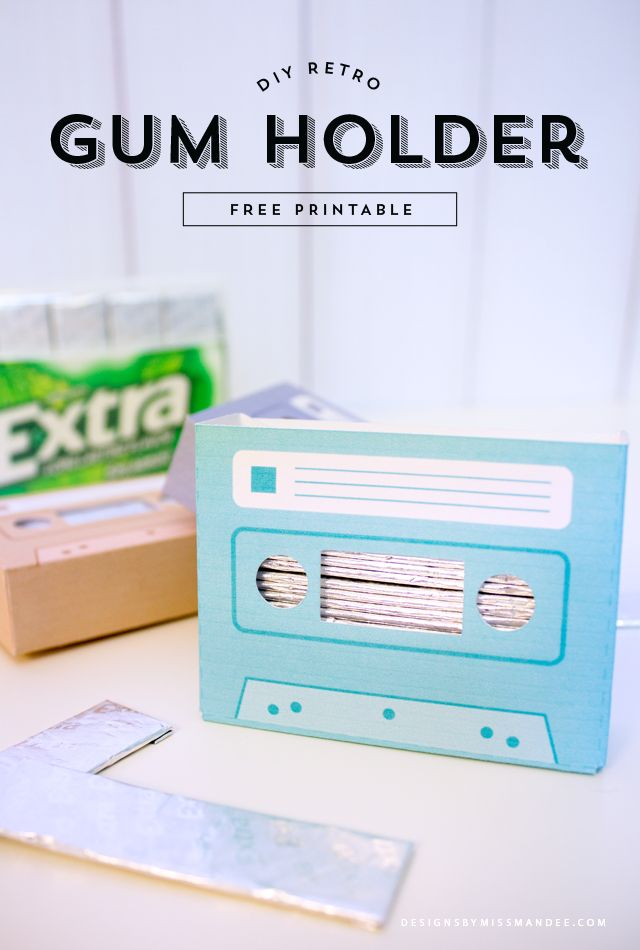 DIY Retro Gum Holder - Designs By Miss Mandee. Download this printable template for FREE! These cute cassettes come in three different colors, and are the perfect size for storing gum. This would be such a fun craft for teens—they could put magnets on the