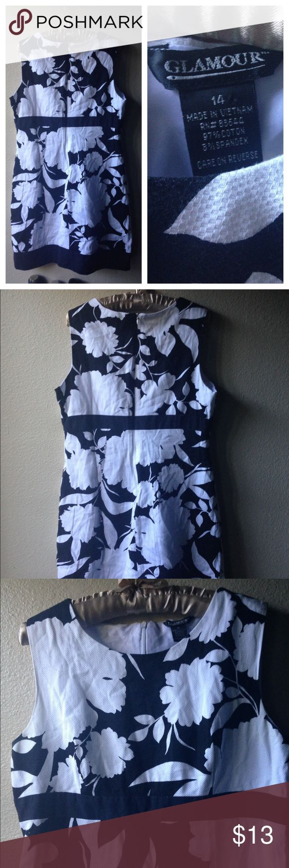 Floral dress size 14 Nice sheath dress. Fully lined, doesn't stretch. Zips in the back , good condition glamour Dresses