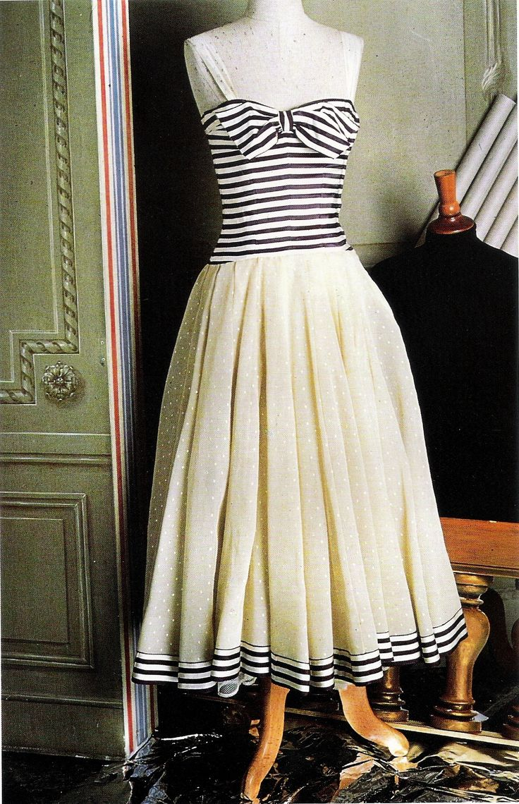 Vintage 1956 Chanel couture summer party  dress with striped silk bodice, and full skirt of dotted cream silk over synthetic gauze, and lace-trimmed underskirt <3 |