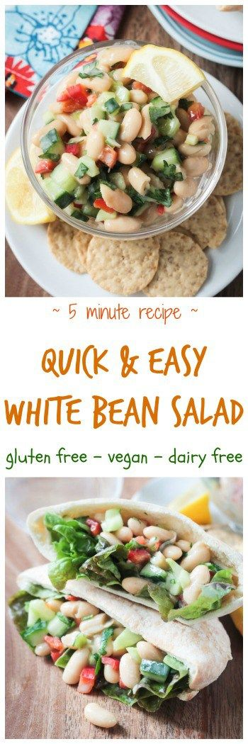 Quick & Easy White Bean Salad - ready in just 5 minutes. Vegan, dairy free, gluten free, salad, sandwich, lunch, snack, appetizer, recipe, fast