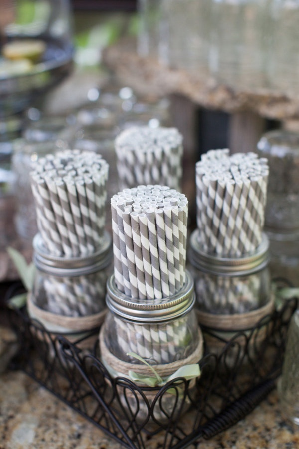 Striped straws in mason jars. Photography by susanhudsonphotography.com