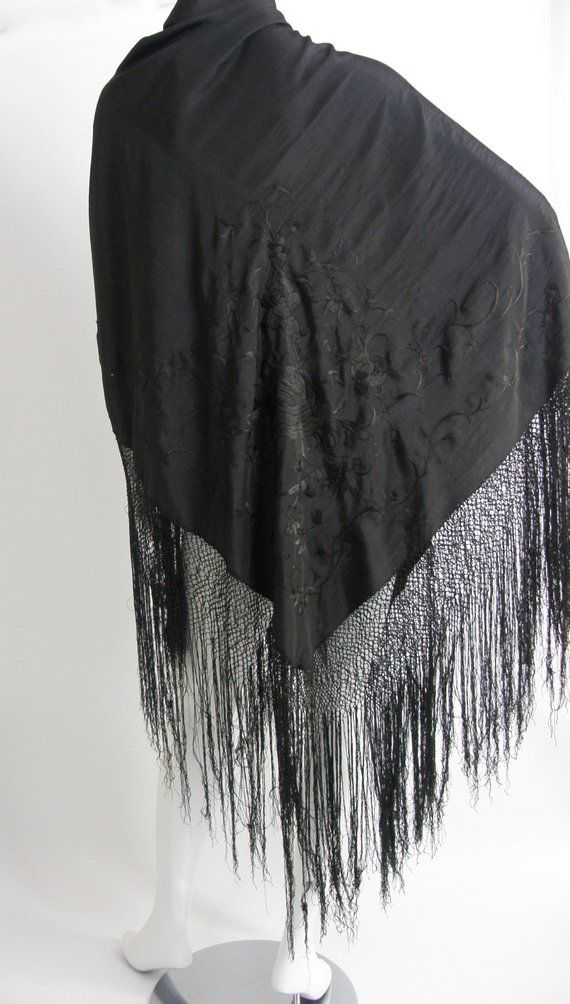8664d8a3a5b Antique Silk Embroidered Piano Scarf/Early 1900s Black Silk Piano ...