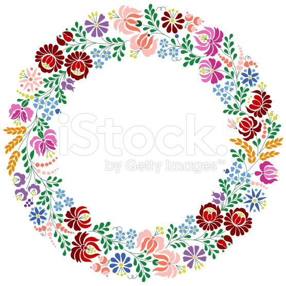 Colorful Hungarian embroidery pattern from Kalocsa region royalty-free stock vector art