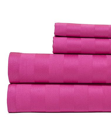 This Hot Pink Damask Stripe Egyptian Cotton Sheet Set is perfect! #zulilyfinds