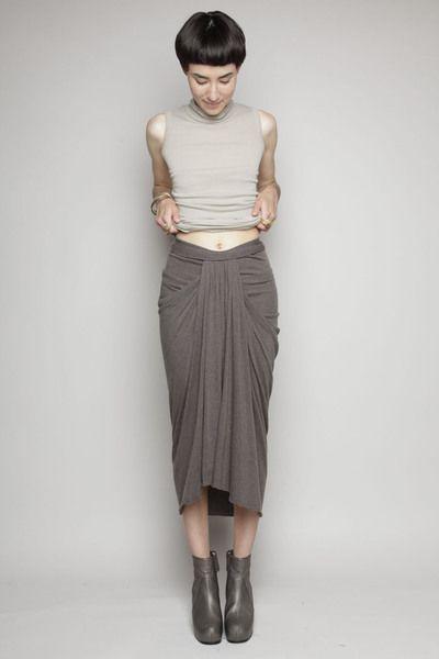 Totokaelo - Rick Owens Lilies - Pleated Teardrop Skirt - Dark Dust