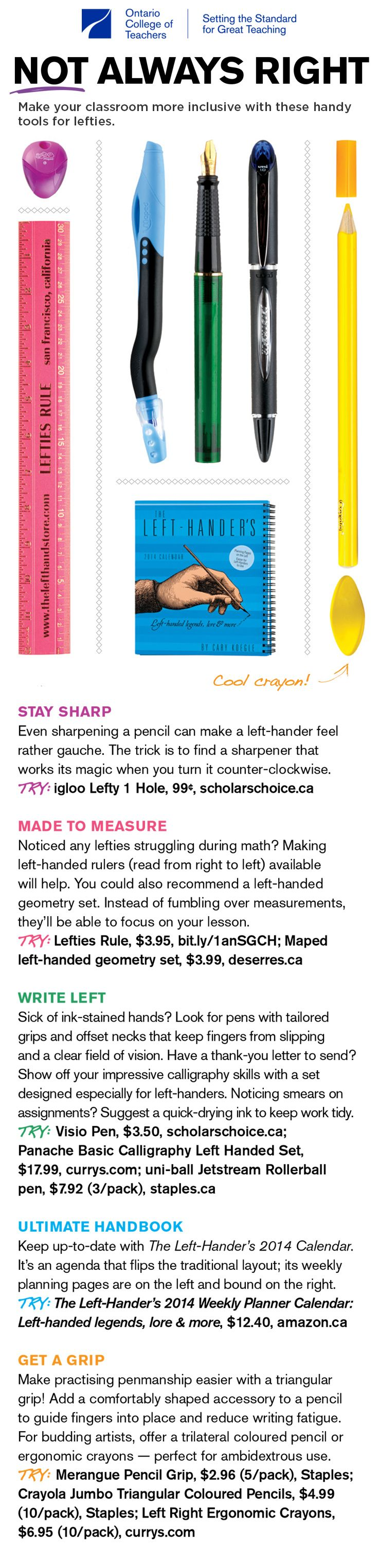 Make your #classroom more inclusive with these handy tools for #lefties. #lefty #lefthanded #lefthandersday #lefthand #teachingtools #learningtools #classroomtools #educational #education #lefthanders