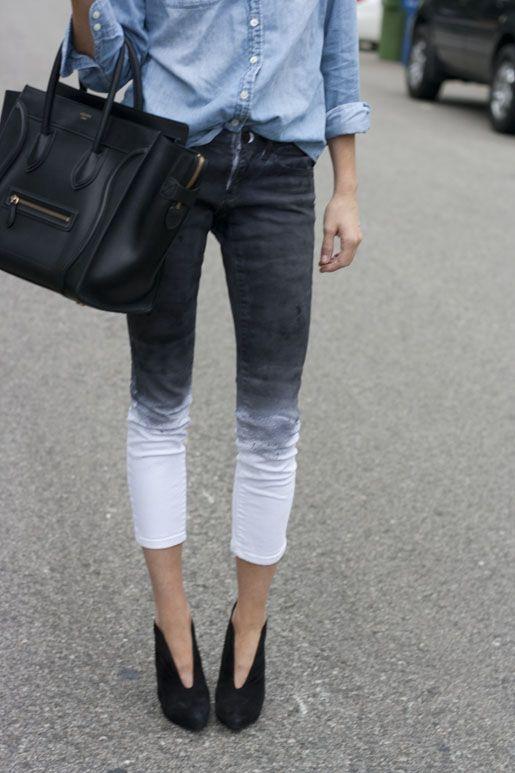 Ombré jeans and demin shirts + Celine bag