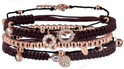 Schuifarmbanden met rosé goud accenten, rosé gouden parel armbanden, diverse modellen rosé gouden armbanden.