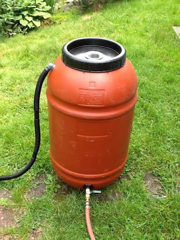 Rainwater harvesting: Rain Barrel DIY. My hubby already bought a barrel just like this so I just need to get the components and have him make this! Should be cheaper than the $85 price tag for one put together.
