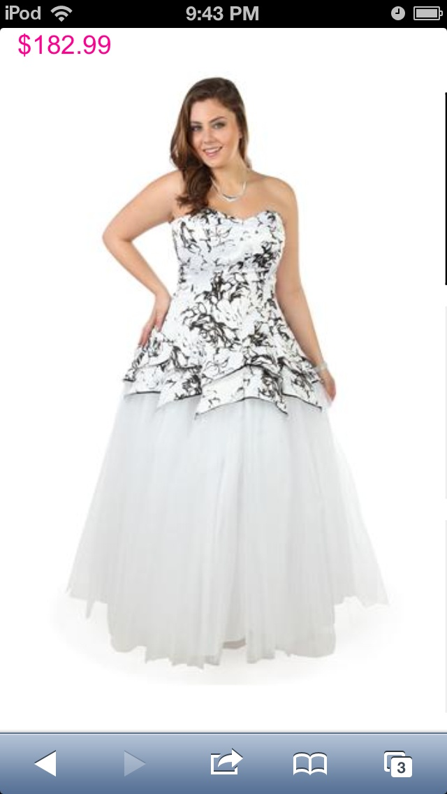 @Deb Schrack Shops Prom 2013 Plus size strapless black and white floral bodice long tulle prom dress  I really want this for prom :)