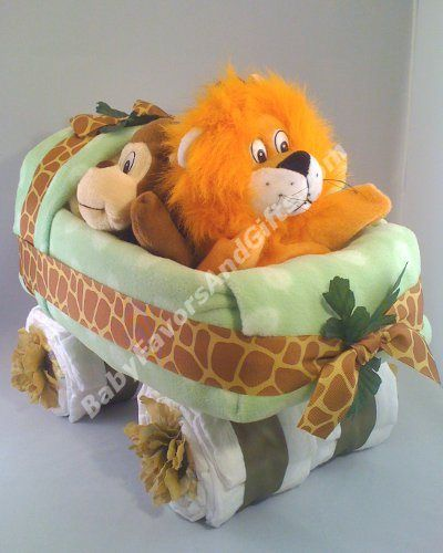 Baby Buggy Made Of Diapers   Safari Baby Carriage Diaper Cake   Unique diaper cakes