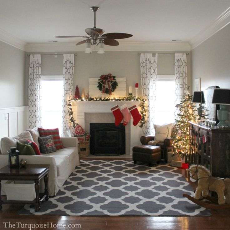 Ideas For Turquoise Rugs Living Room: Christmas Tour 2013: Pretty In Plaid