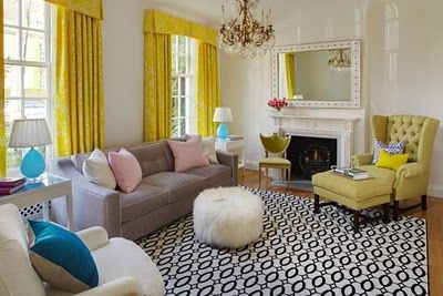 decorating with yellow & aqua' | The Glam Lamb: Yellow and Turquoise Living Room