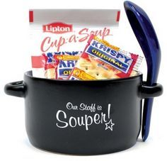 Staff Appreciation Soup Mug Set. Unfortunately can't customize the wordings but is great to boost employees morale. Soup set gift includes a specially decorated 12 oz. ceramic soup mug with removable matching spoon, soup packet and 3 packs of tasty crackers. Comes gift wrapped with a bow and hang card.