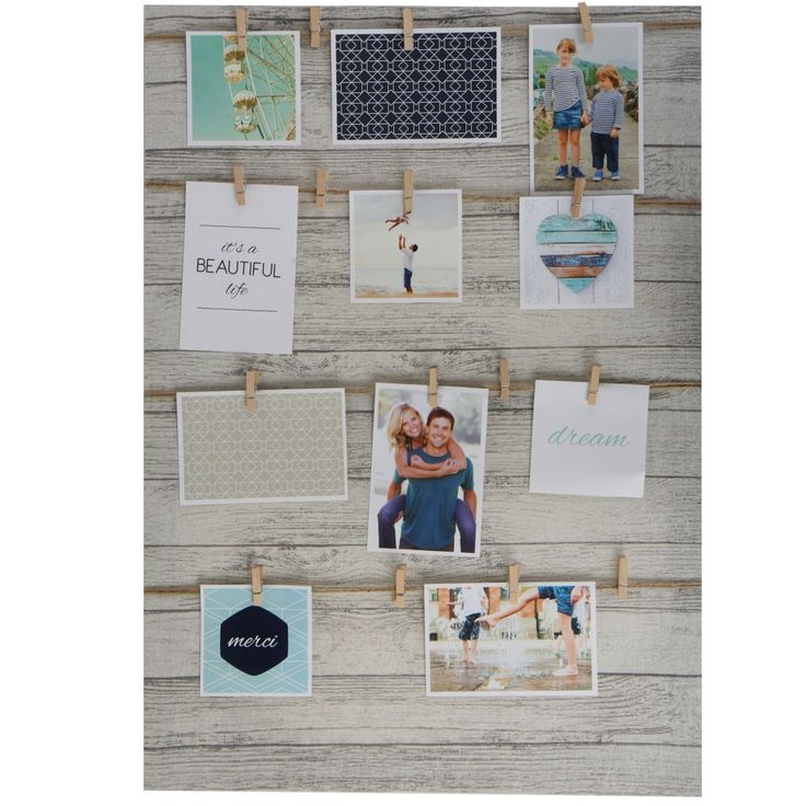 Fotorahmen mit Leine - 70x50 cm inkl. 16 Klammern - Bilderrahmen Foto Halter Galerie: Amazon.de: Küche & Haushalt