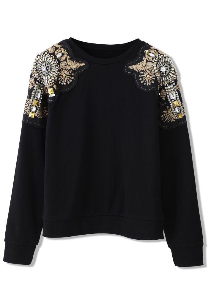 Crystal Beads Embellished Shoulder Sweater