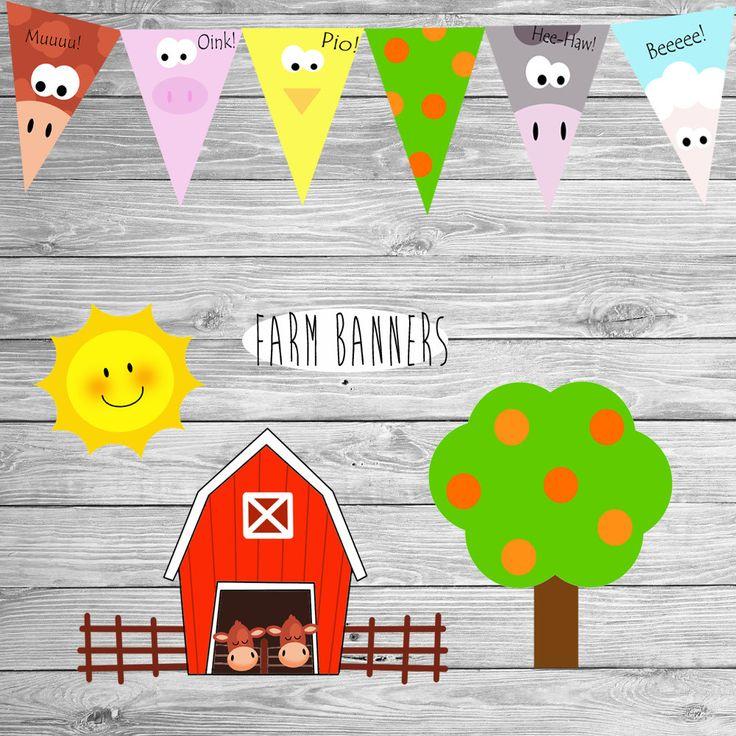 BANNERS fiesta de cumpleaños Granja Decoración granja