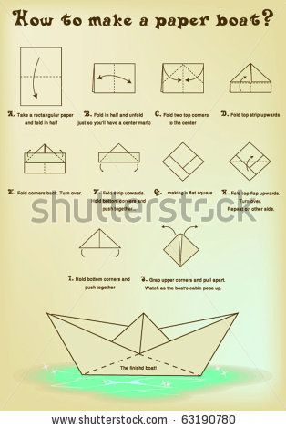 Paper boat instructions  Gonna make this with heart paper and put some candies and Hershey's kisses inside <3