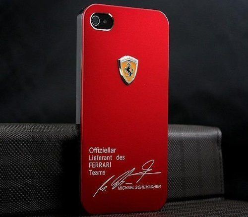 3d sport-car logo metal hard cover case for iphone 5 - red ferrari