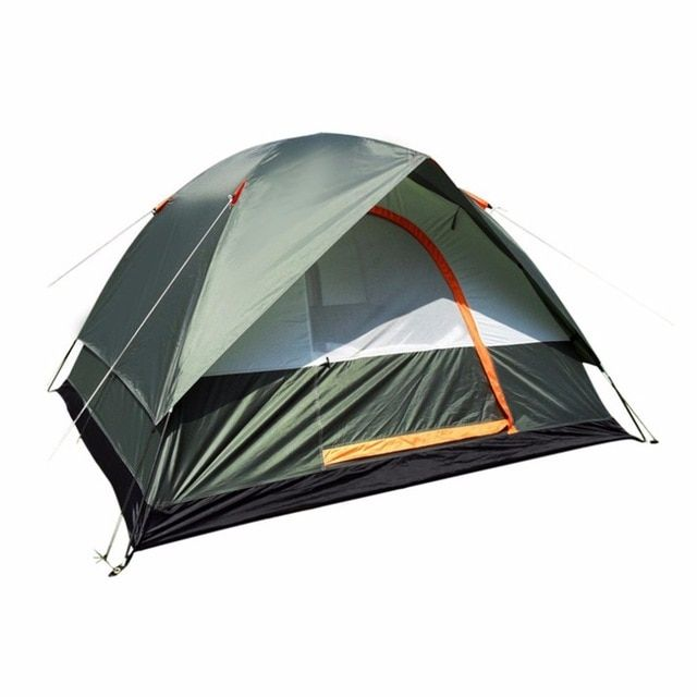 Waterproof Outdoor Camping Hiking Polyester Oxford Cloth Dual Layers Tent Portable 4 People Travel Climbing Tent Review Tent Waterproof Tent Waterproof Outdoor