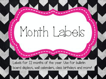 Month Labels (Pink, Black and Gray)